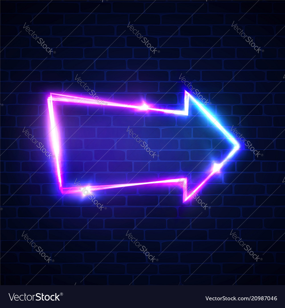 Realistic neon arrow sign on brick wall