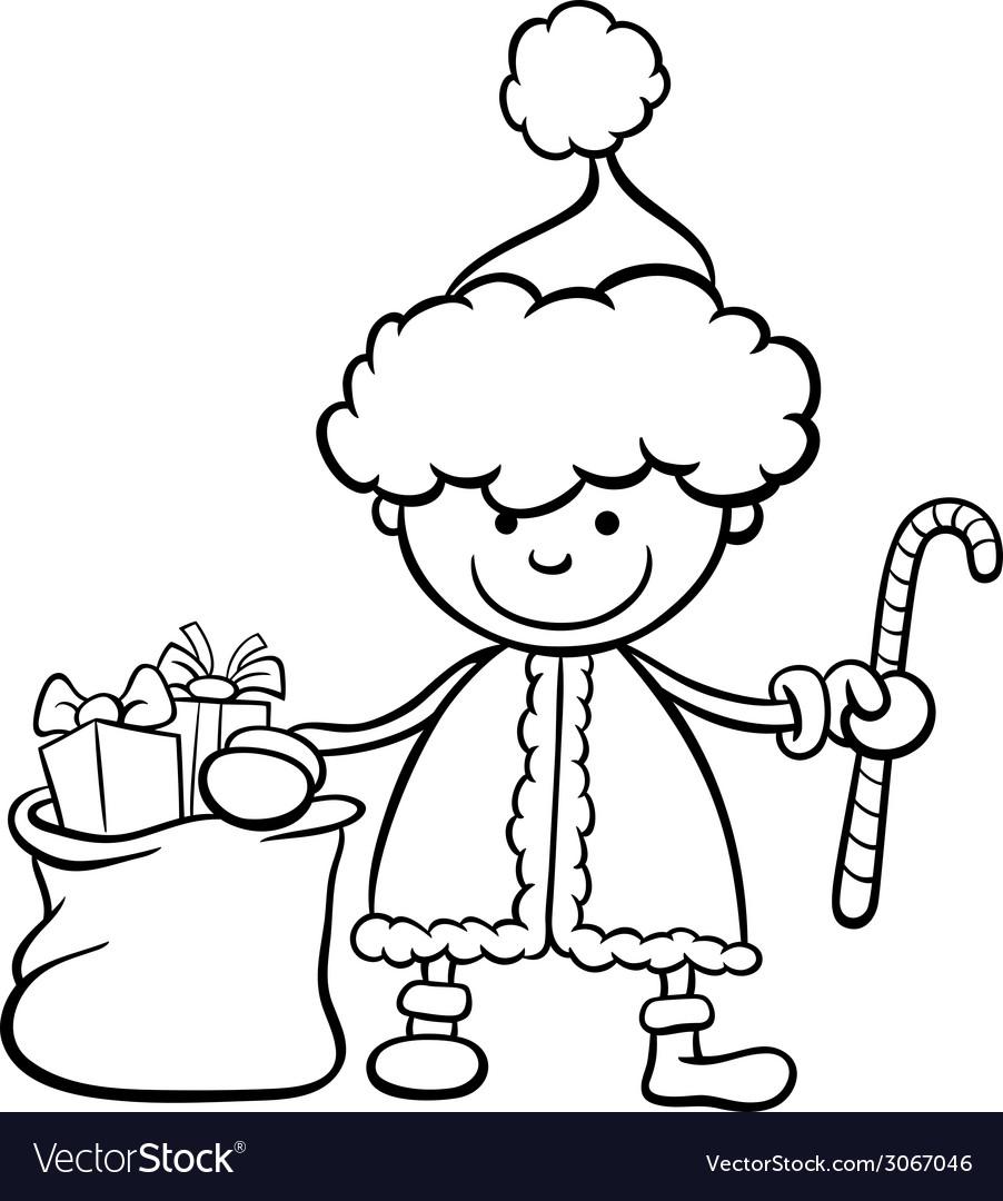 Santa Claus Kid Cartoon Coloring Page Royalty Free Vector