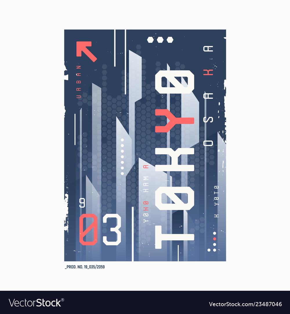 Tokyo t-shirt abstract geometric futuristic design