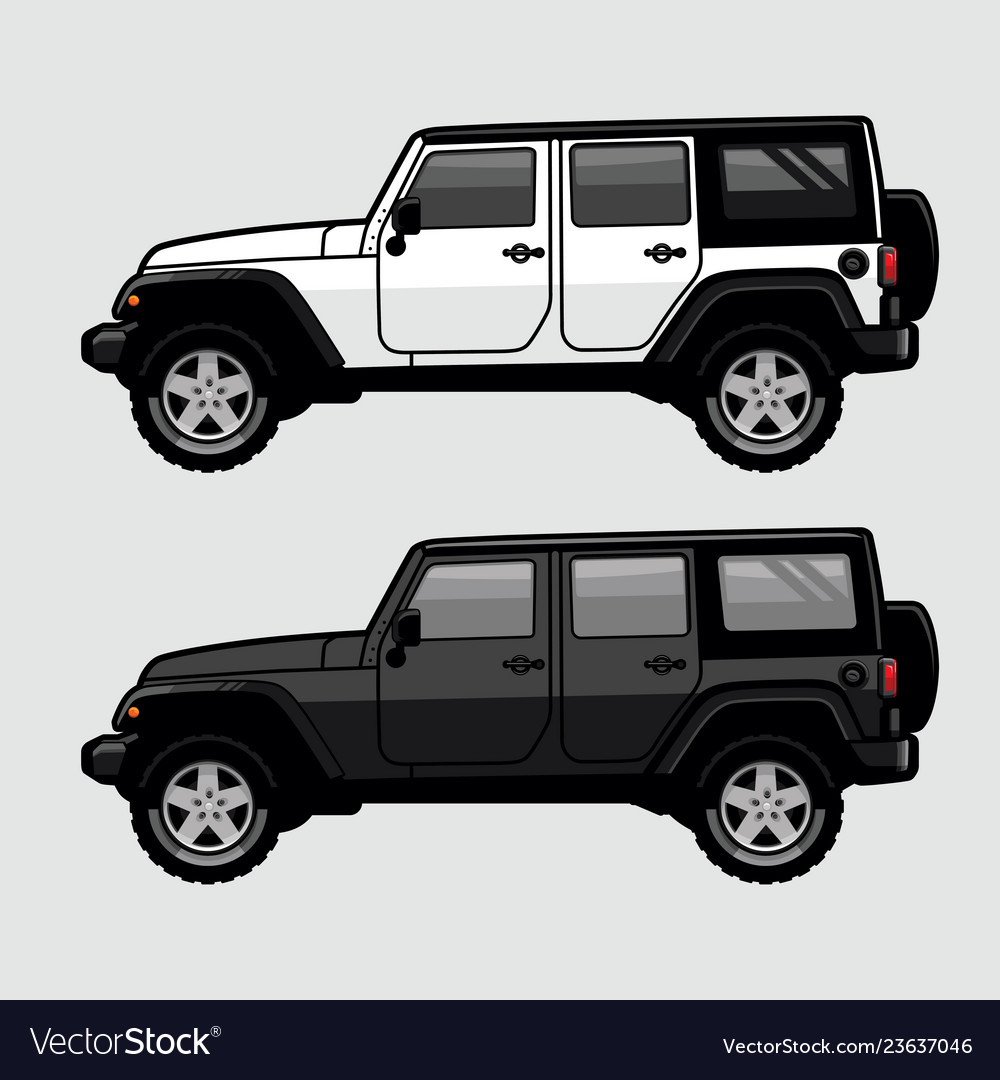 White and black 4x4 off road suv side view in