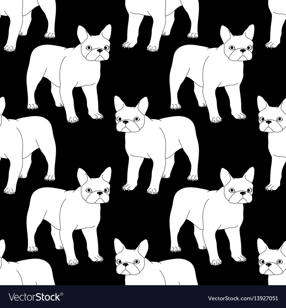 Black and white seamless pattern with bulldog