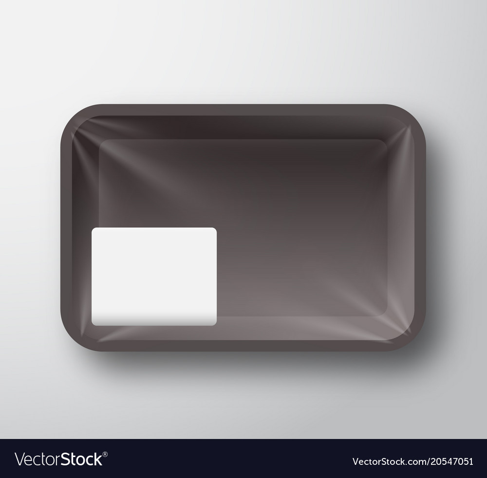 Black plastic food tray container with transparent