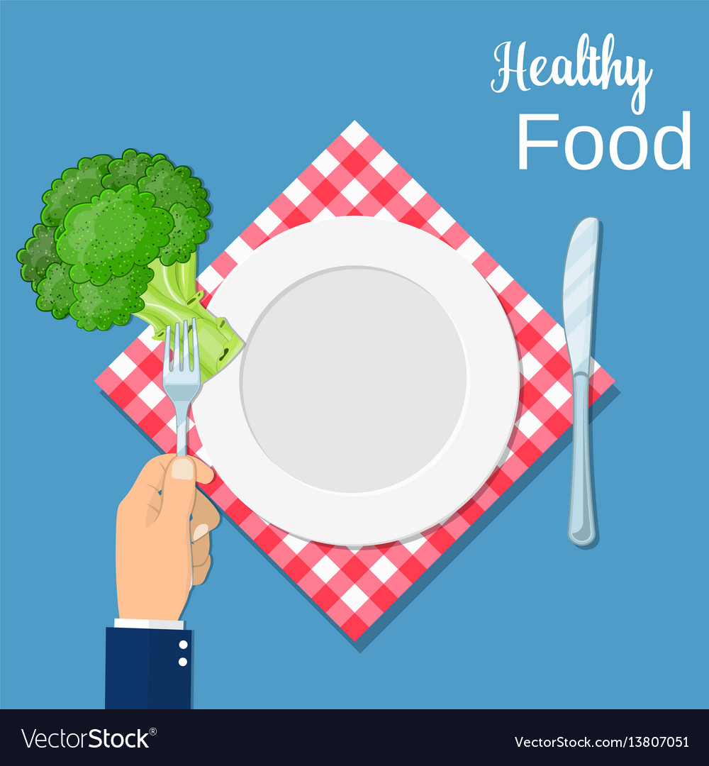 Hand hold a broccoli on a fork vector image