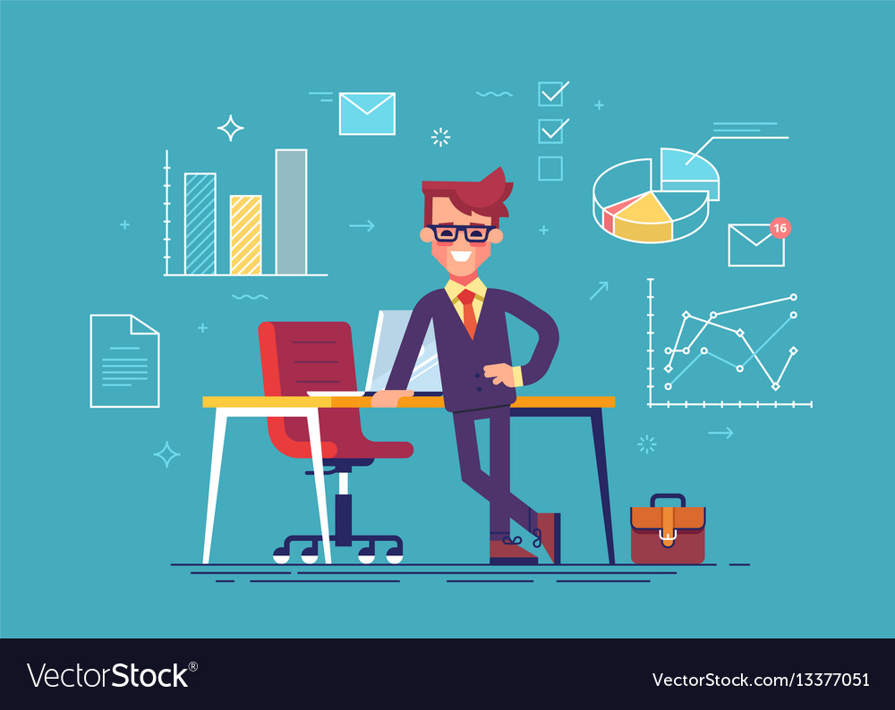 Man with business icons on background