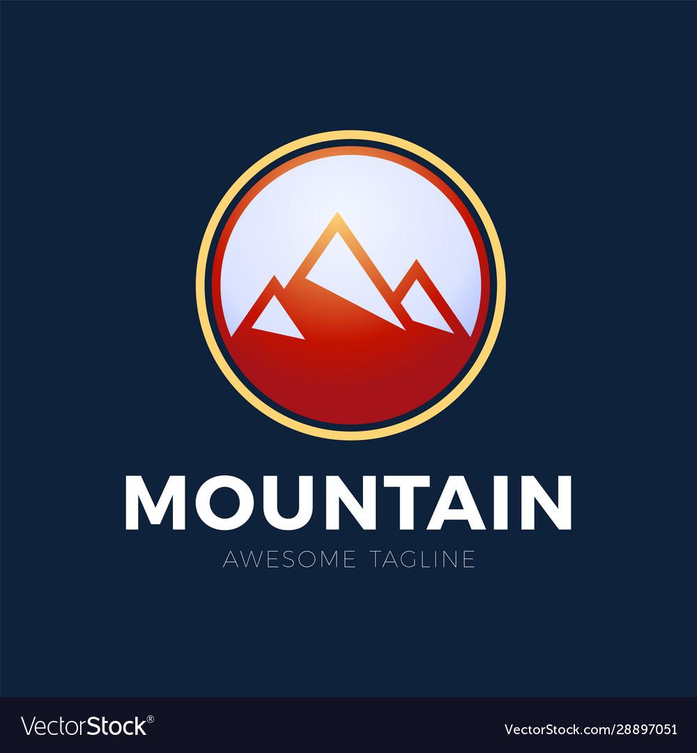 Mountain logo design red circle mountain design