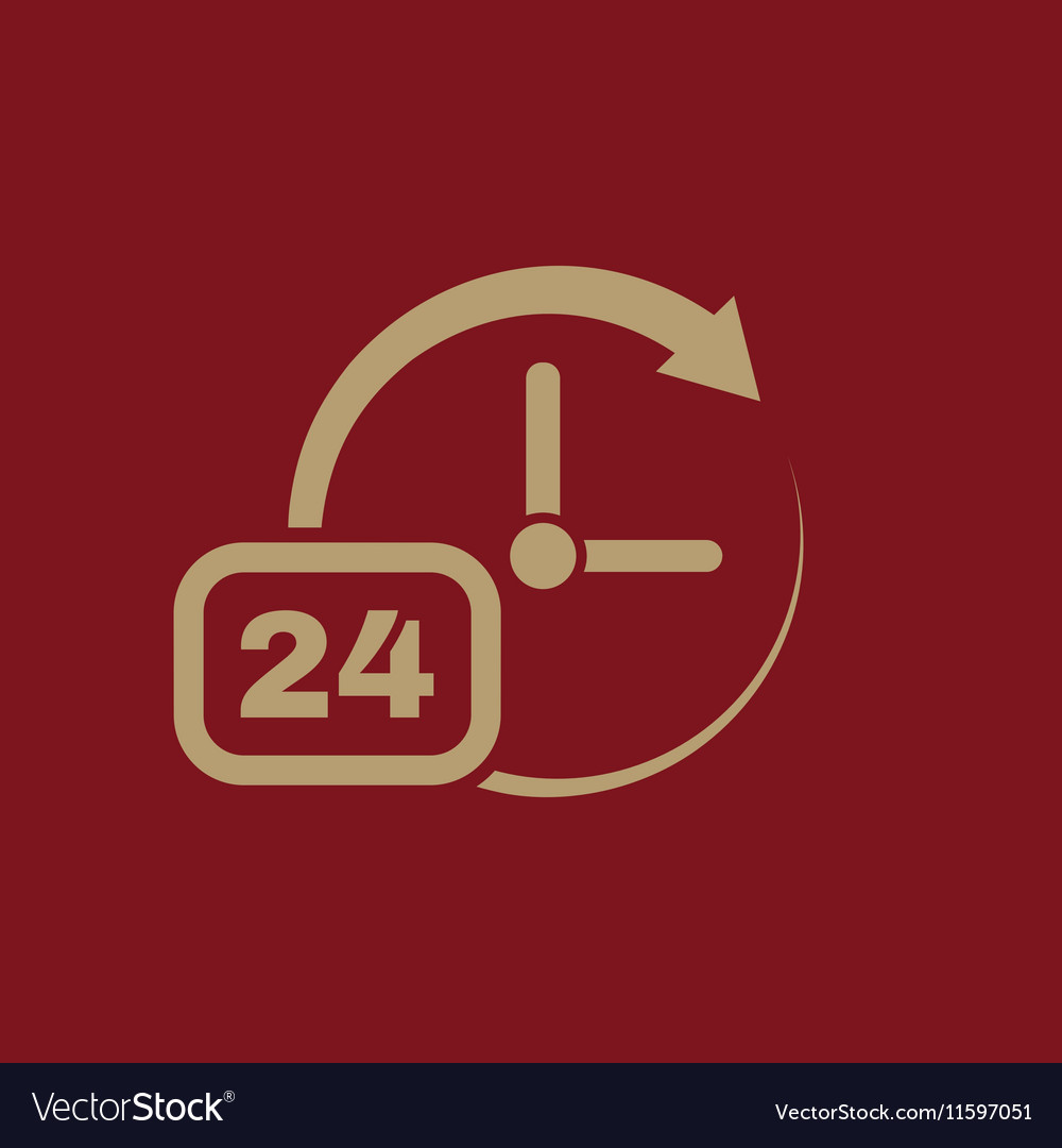 time clock icon time and watch timer 24 hours vector image