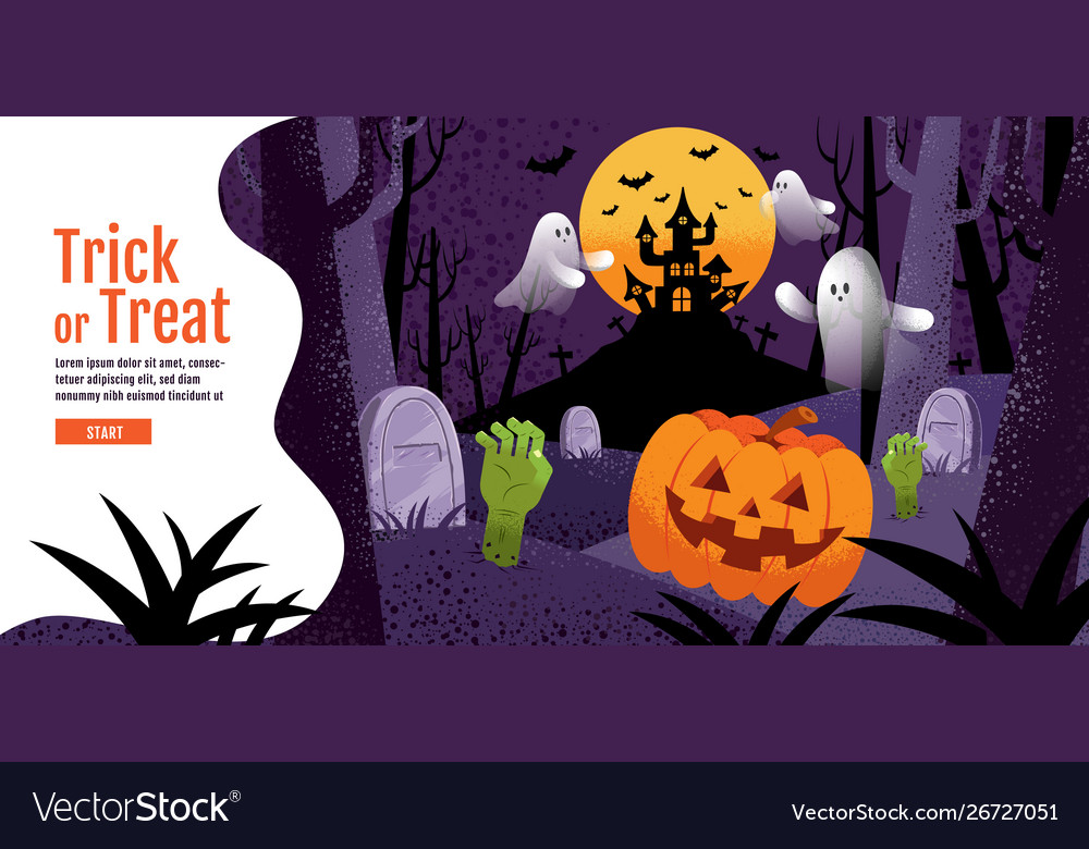 Trick or treat halloween background with pumpkin