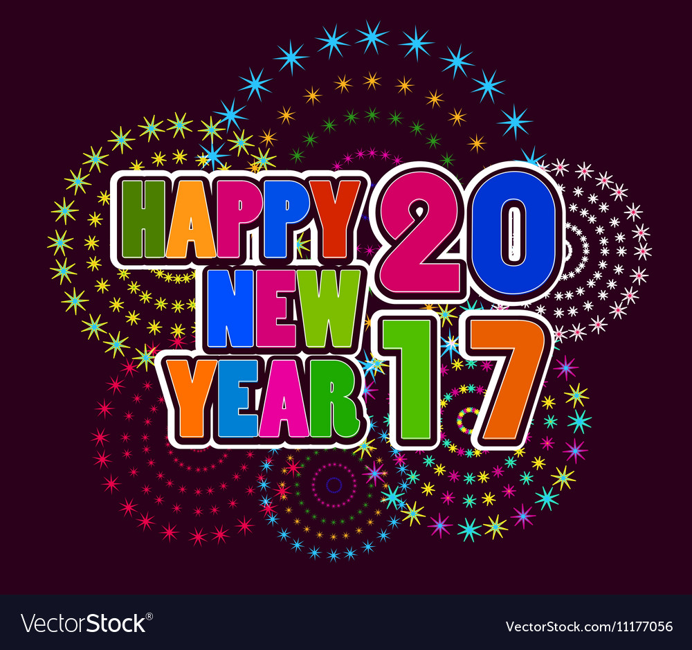 2017 happy new year greetings card vector image