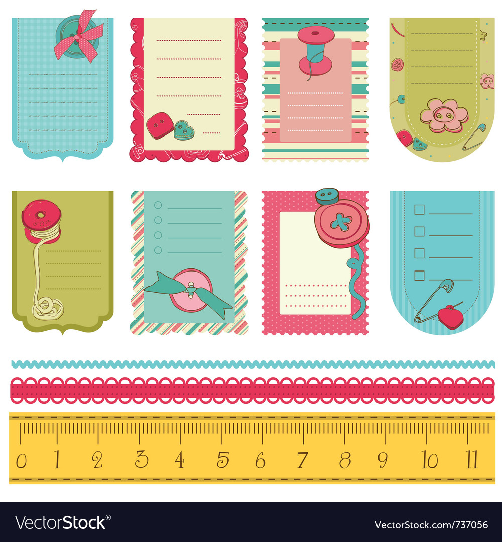 Design Elements For Baby Scrapbook Cute Tags Wit
