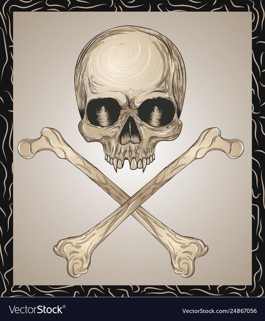 Evil skull with crossed bones