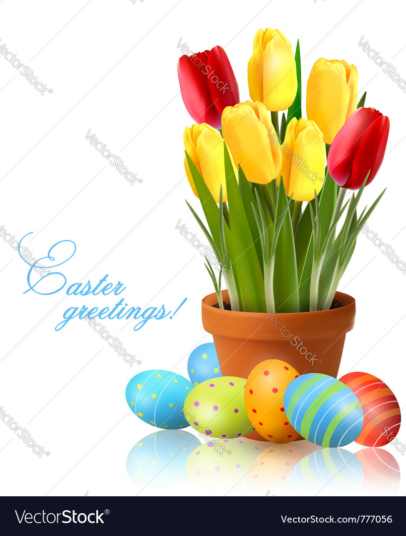 Fresh Spring Flowers With Easter Eggs Royalty Free Vector