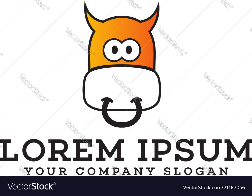 Funny cow logo animals logo design concept