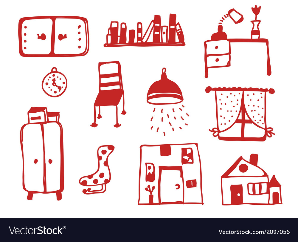 Furniture icons set funny