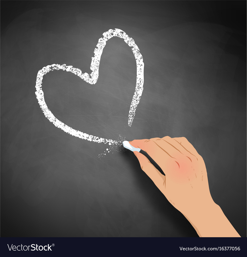 Hand drawing heart with chalk