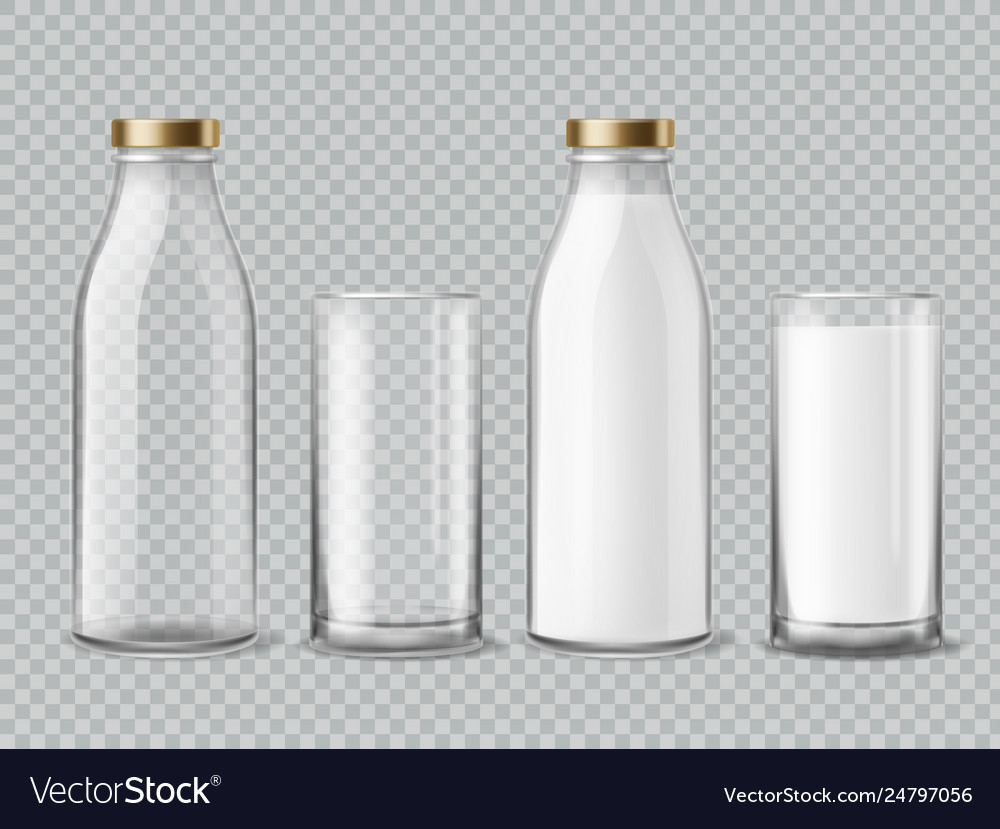 Milk bottle and glass empty and full milk
