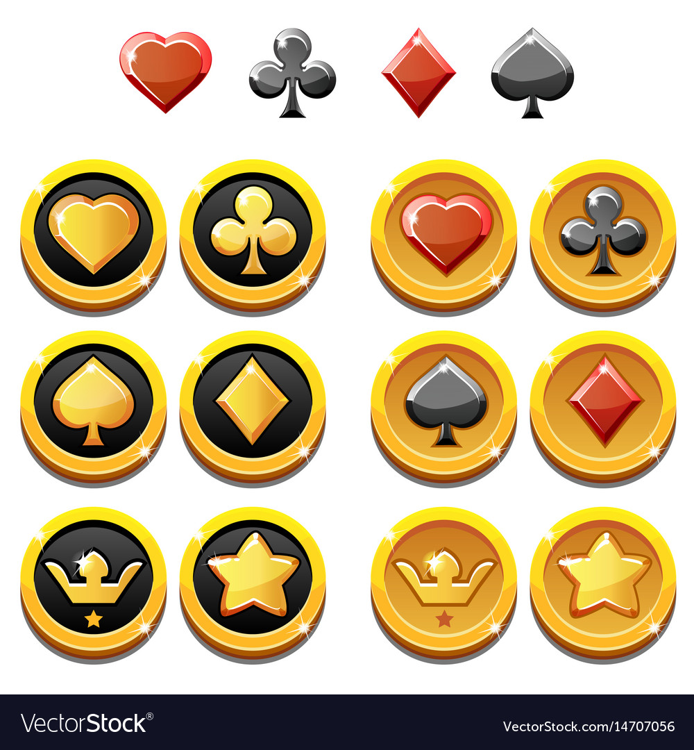 Set of gold icons and coins of