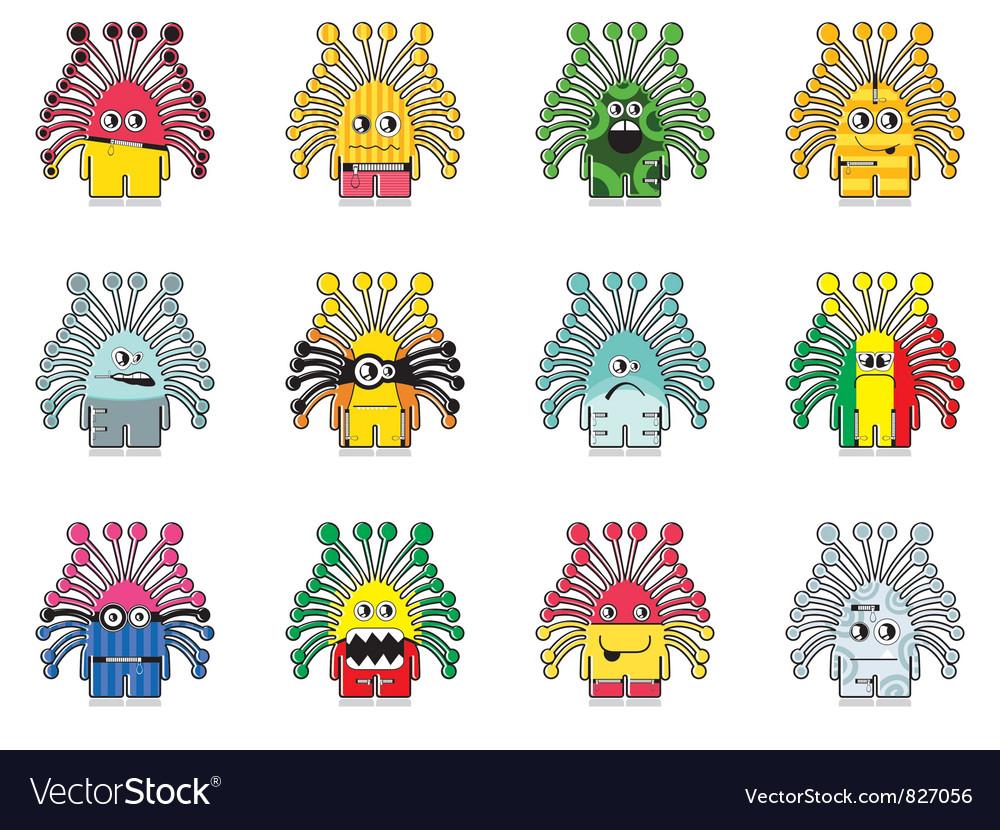 Set of twelve monster vector image