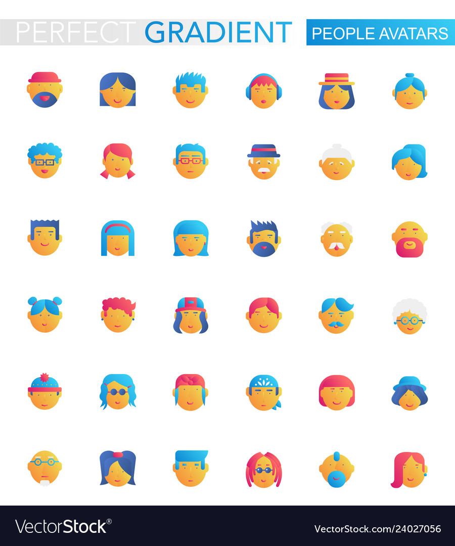 Set trendy flat gradient people avatars