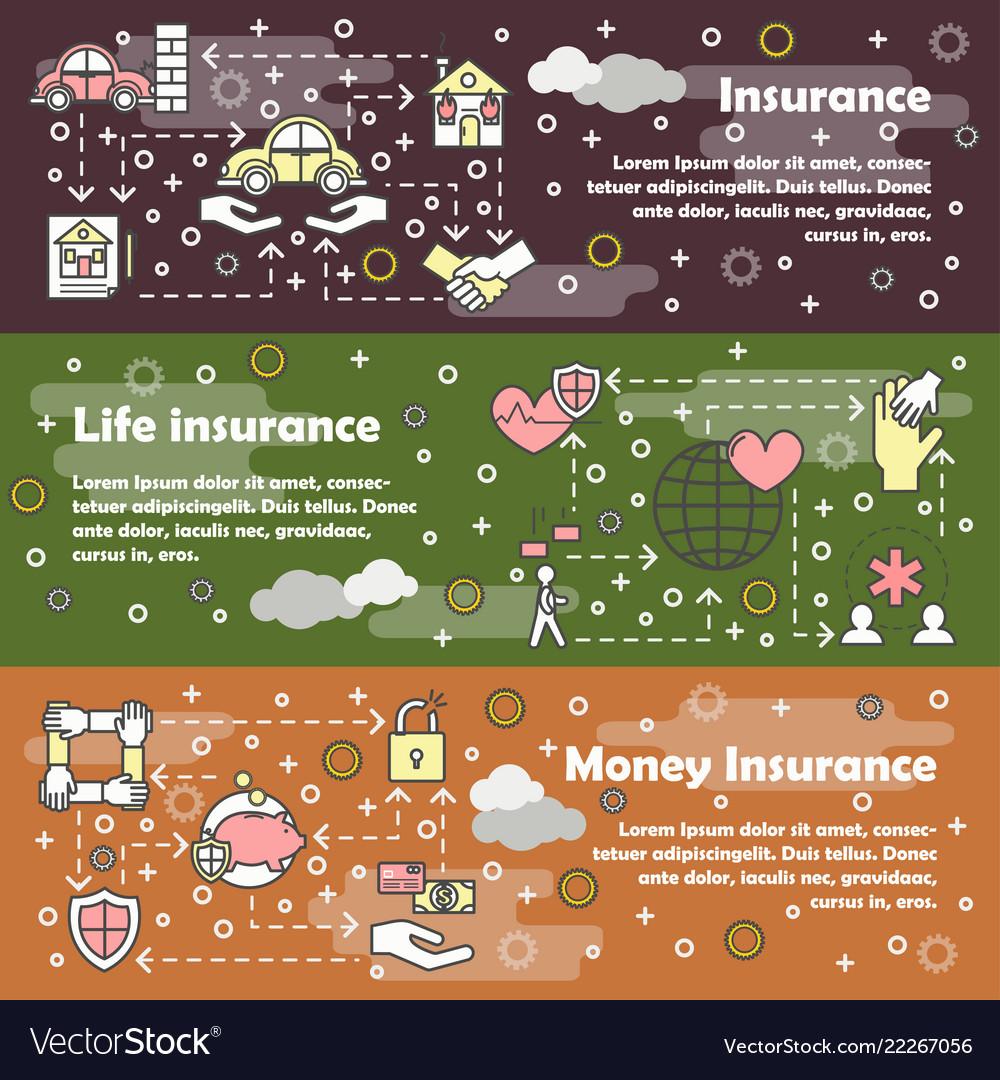 Thin line insurance web banner template set