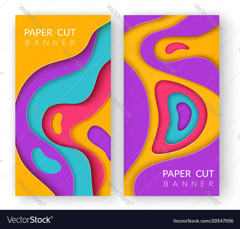 Two vertical abstract banners with multi colored