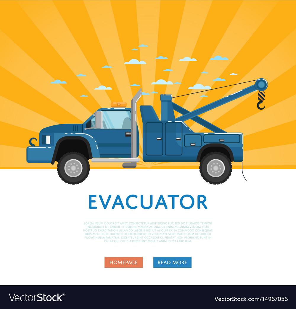 Website design with tow truck vector image