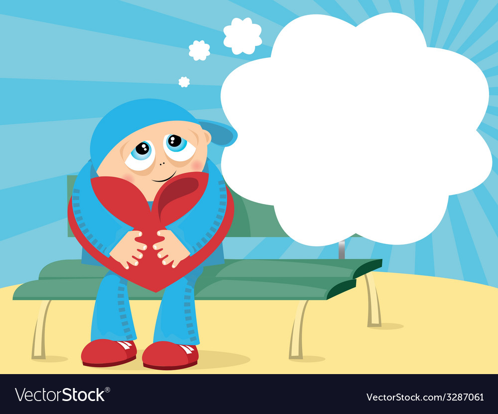 Abstract with boy sitting with lovely heart vector image