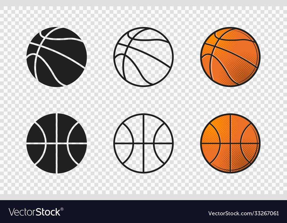 Basketball ball set icons orange color silhouette