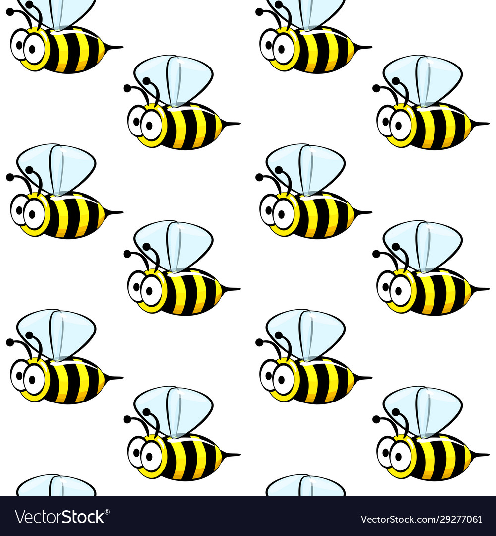 Cute bees seamless pattern on a white background