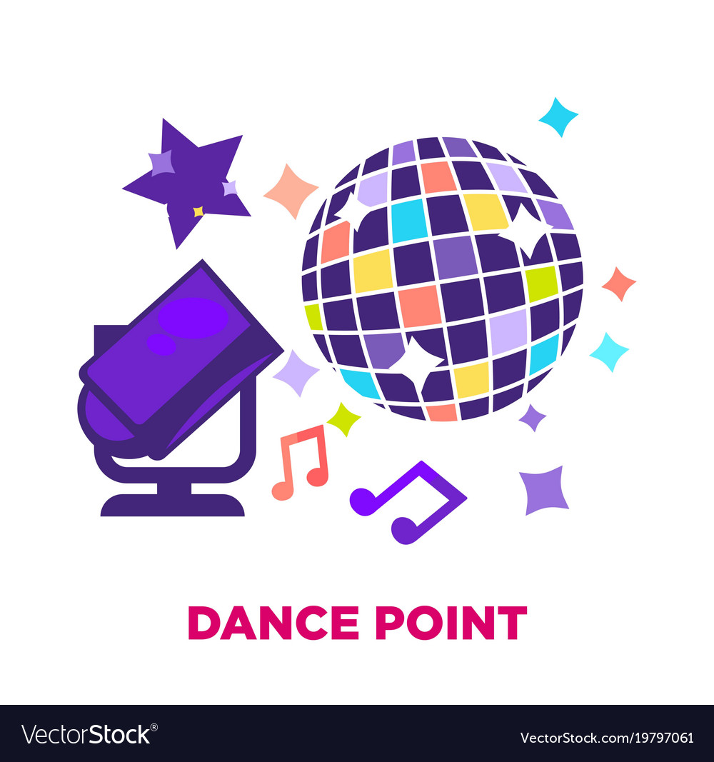 Dance point promotional poster with shiny disco