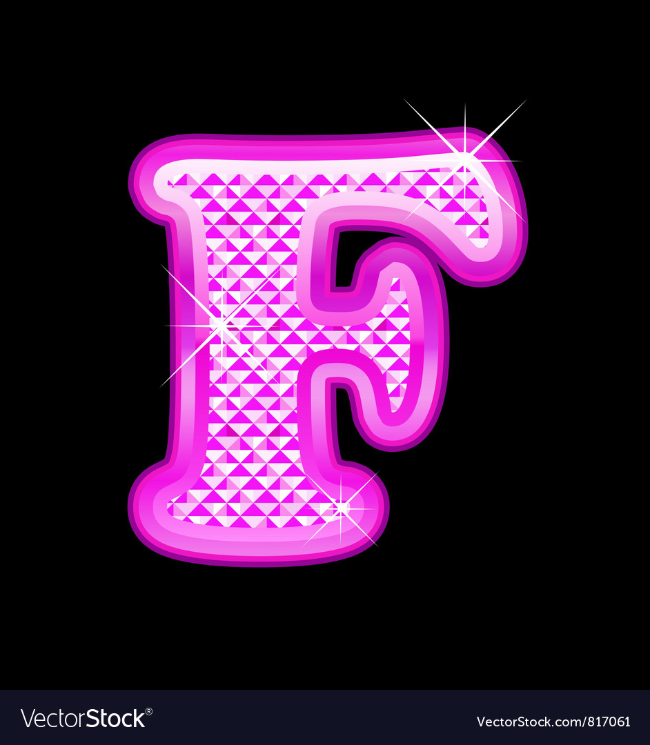 9f903e9958b F letter pink bling girly Royalty Free Vector Image