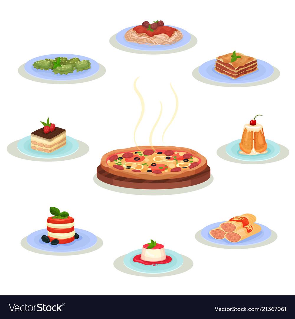 Flat set of traditional italian food tasty