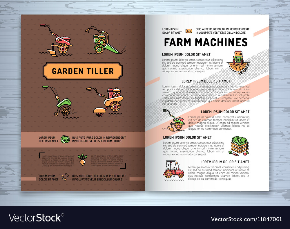 Garden tiller and farm machines agricultural vector image
