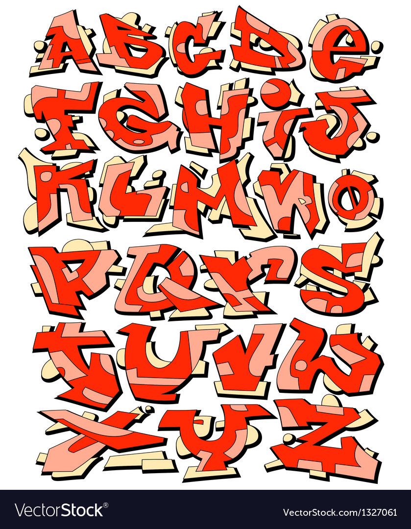 Graffiti Font Alphabet Letters Royalty Free Vector Image