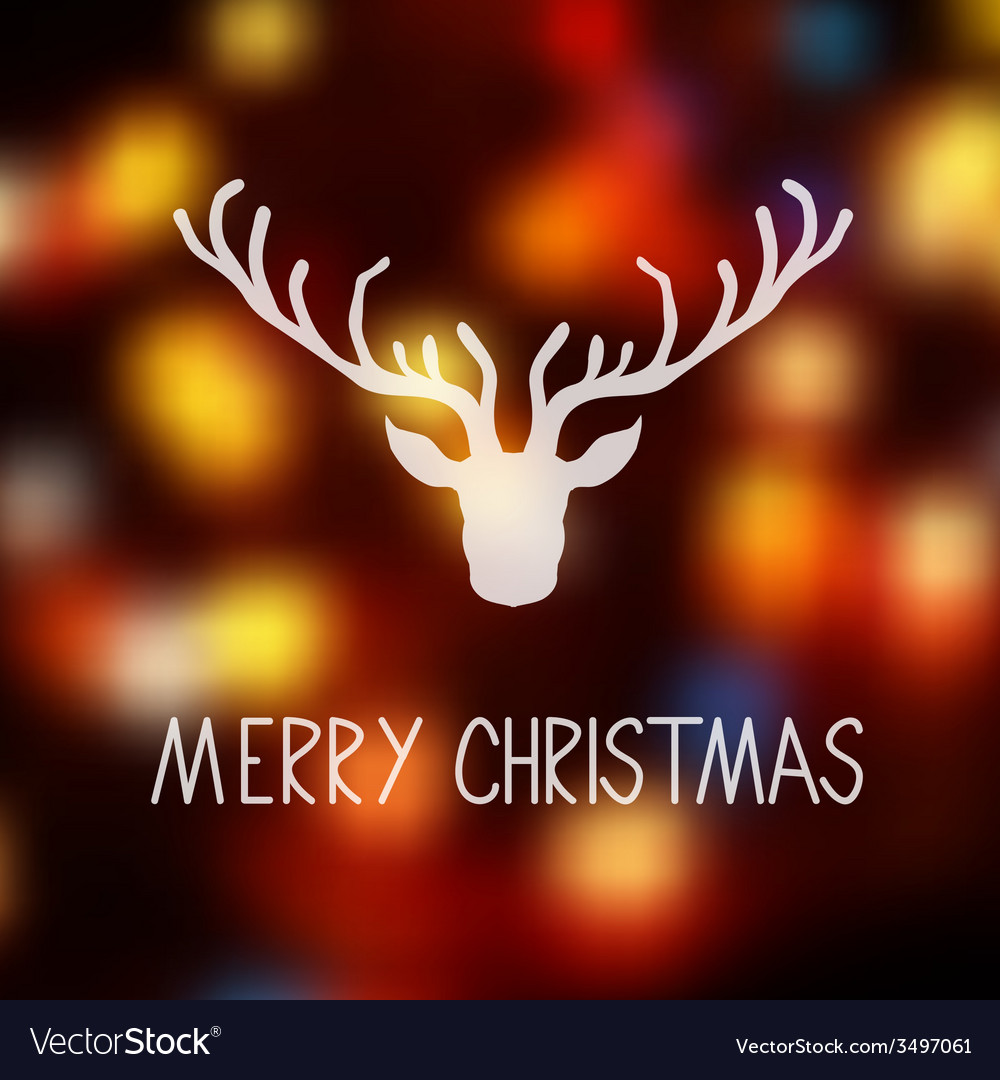Merry Christmas card template with a deer