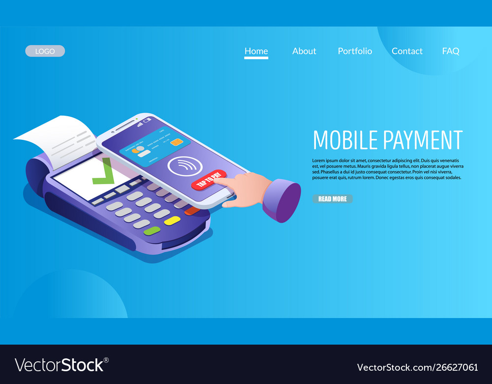 Mobile payment website landing page design