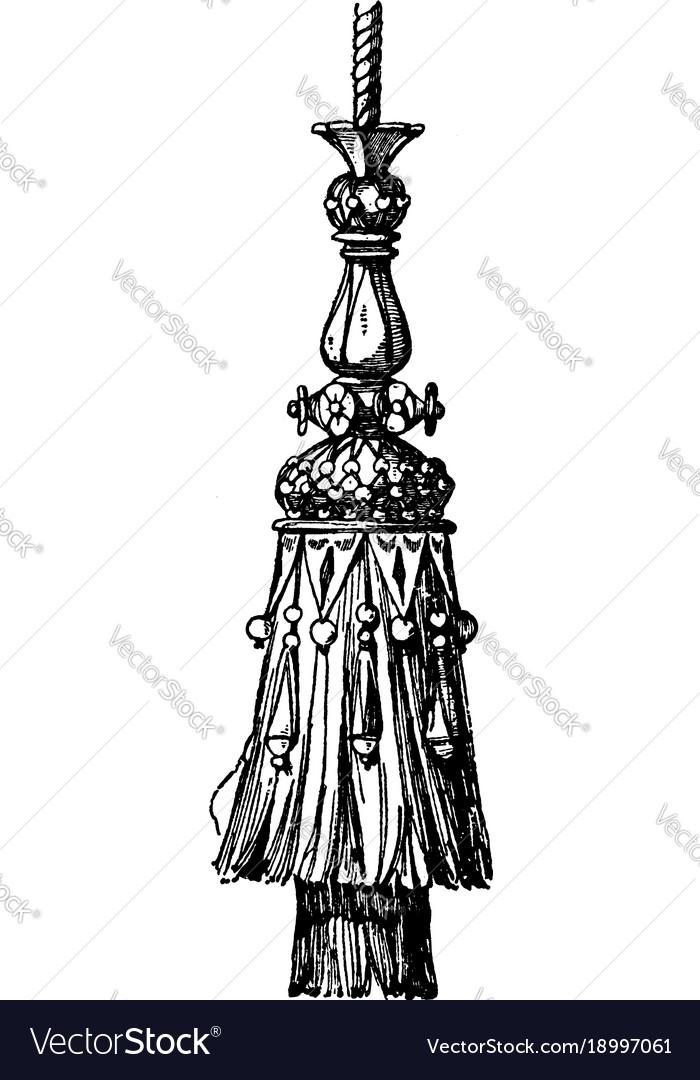 Modern tassel cords vintage engraving
