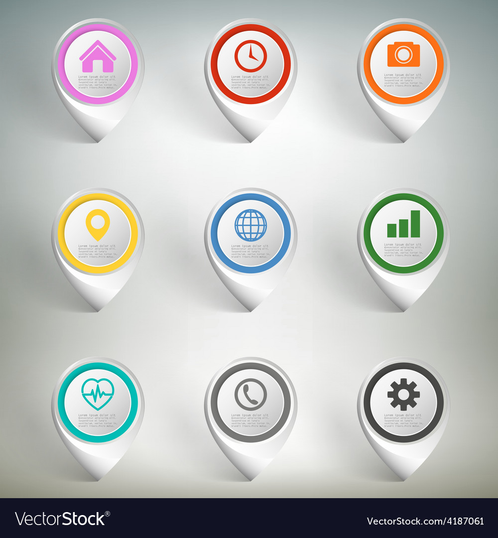 Pointer marks set Colorful icon templates on gray
