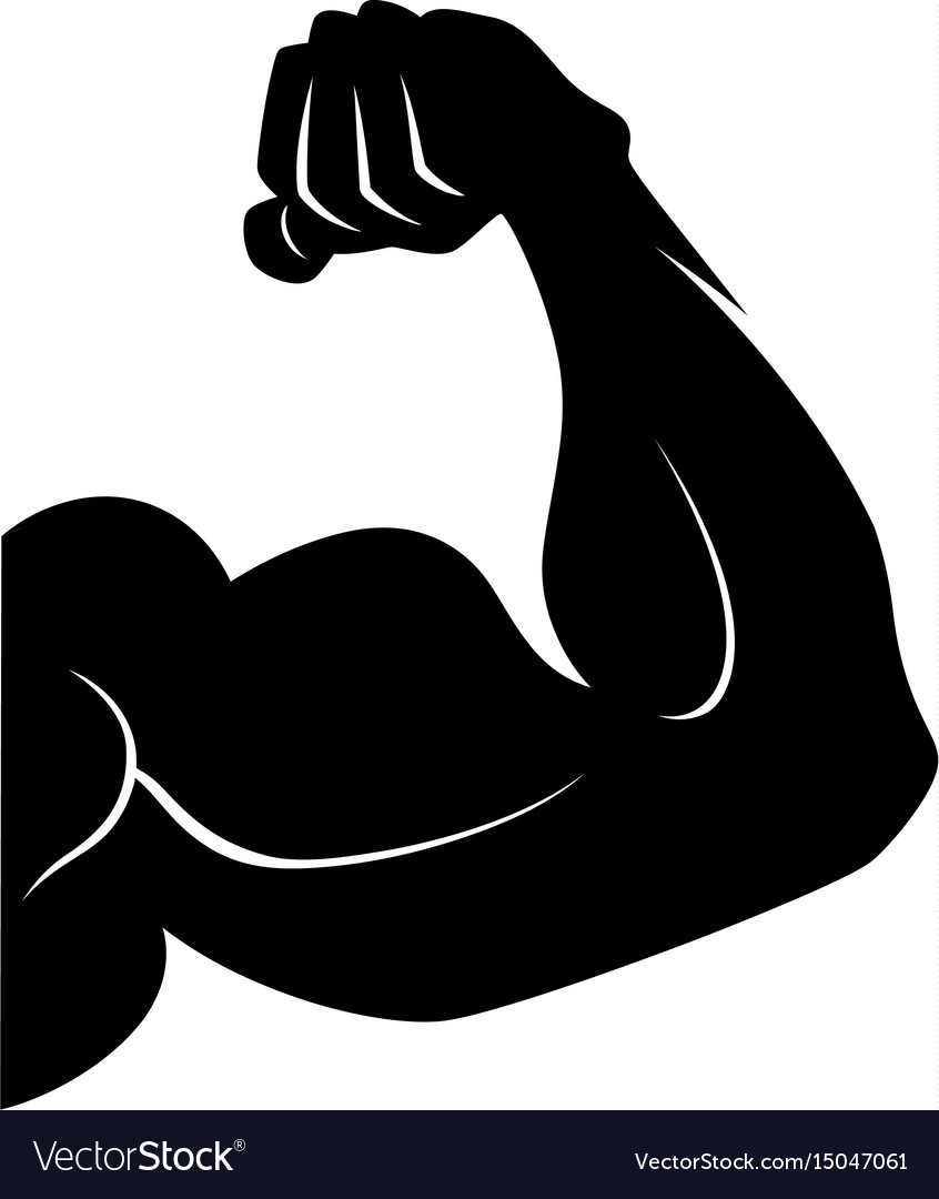 Power lifting symbol muscle arm black