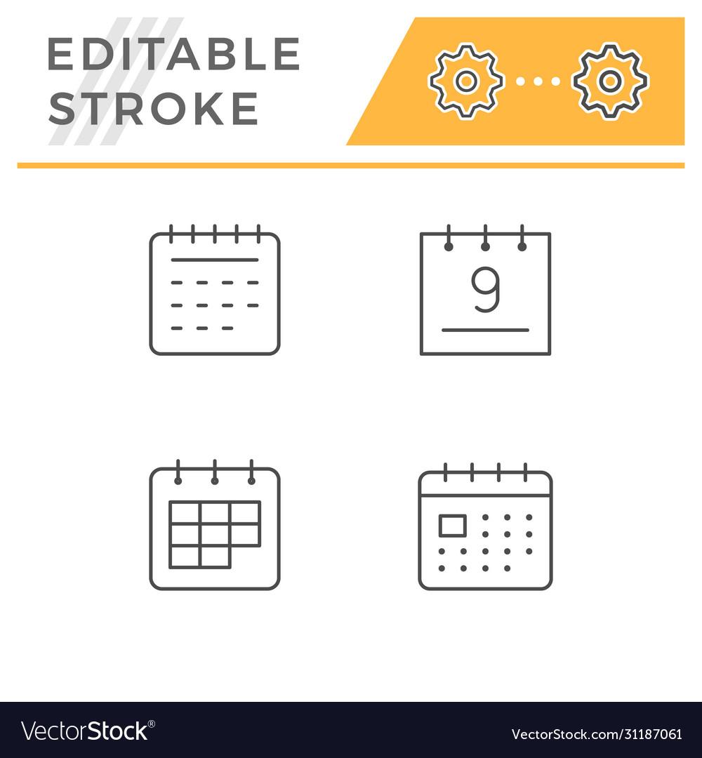 Set line icons calendar