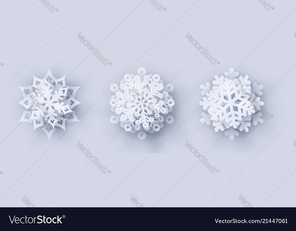 Set of 3 paper cut snowflakes with shadow