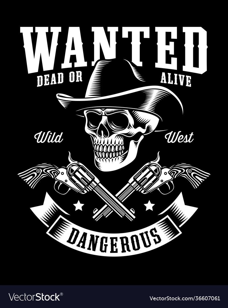 Vintage cowboy skull with crossed revolvers