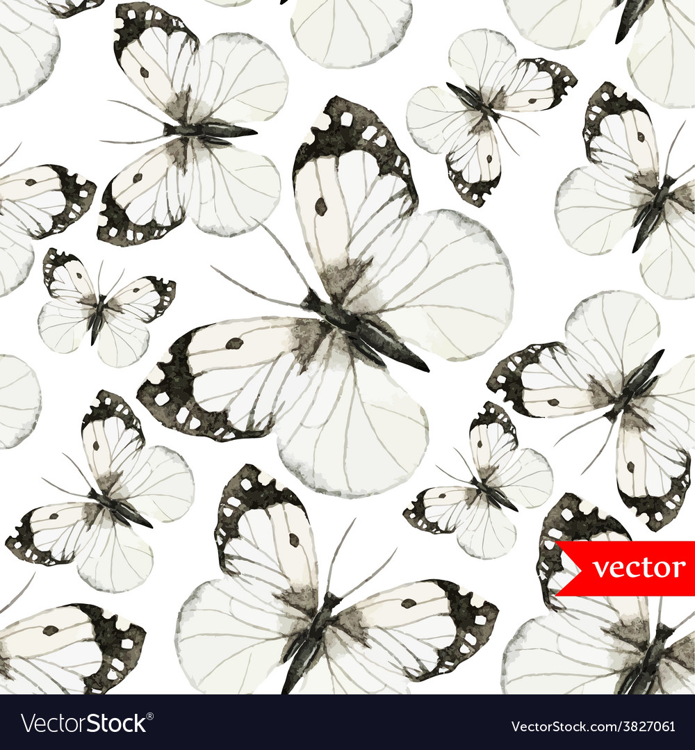 Watercolor butterfly red brown pattern