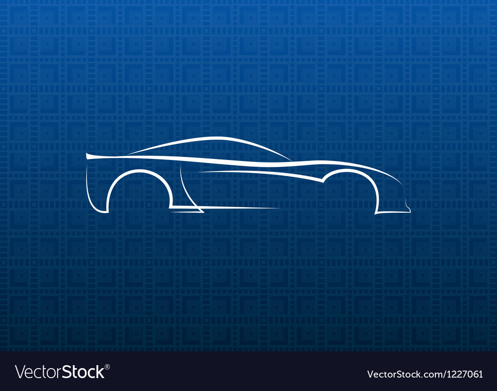 White car logo on blue texture vector image