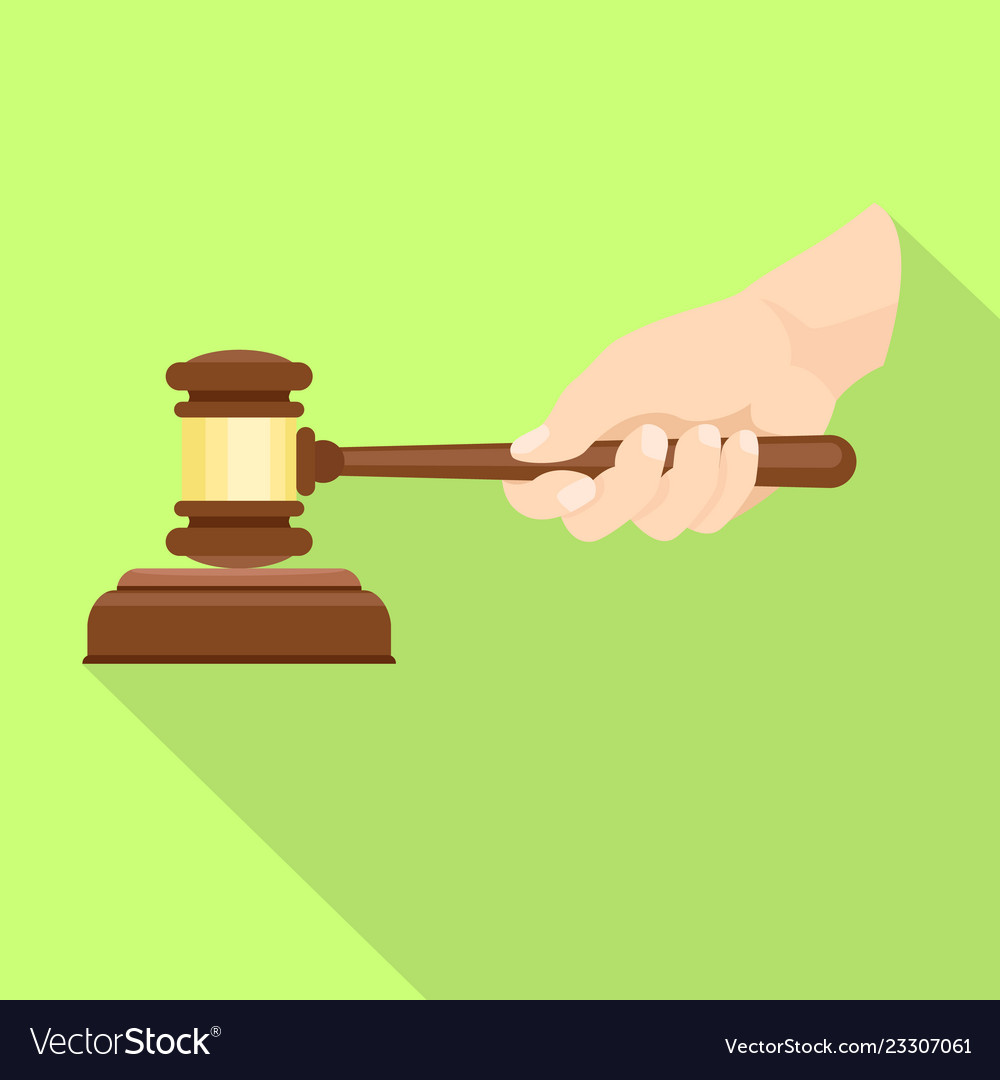 Wood Gavel In Hand Icon Flat Style