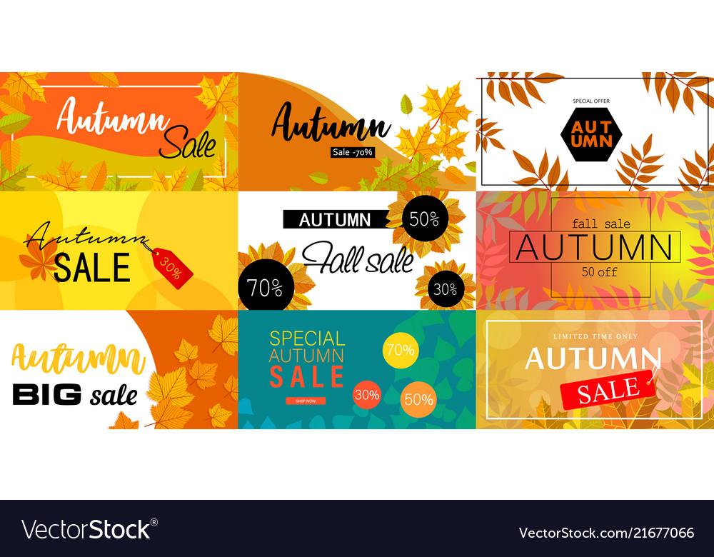 Autumn sale fall season concept set flat style