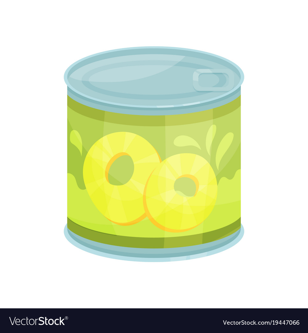 Canned pineapple rings tinned food in aluminum