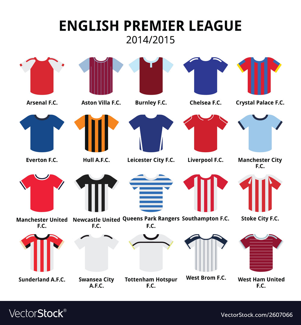 English Premier League 2014 - 2015 football jersey vector image