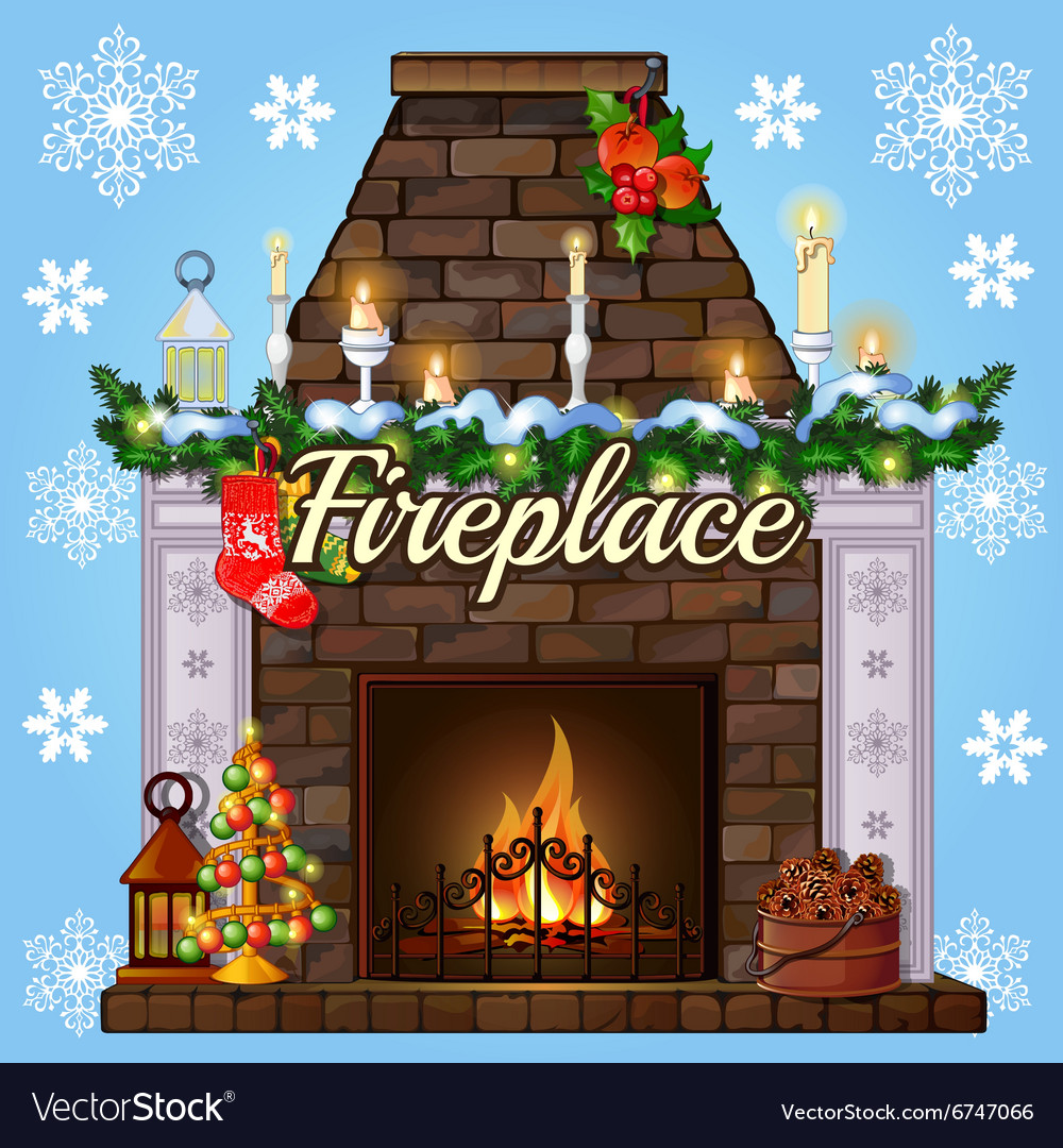 Fireplace with tree gift socks and candles