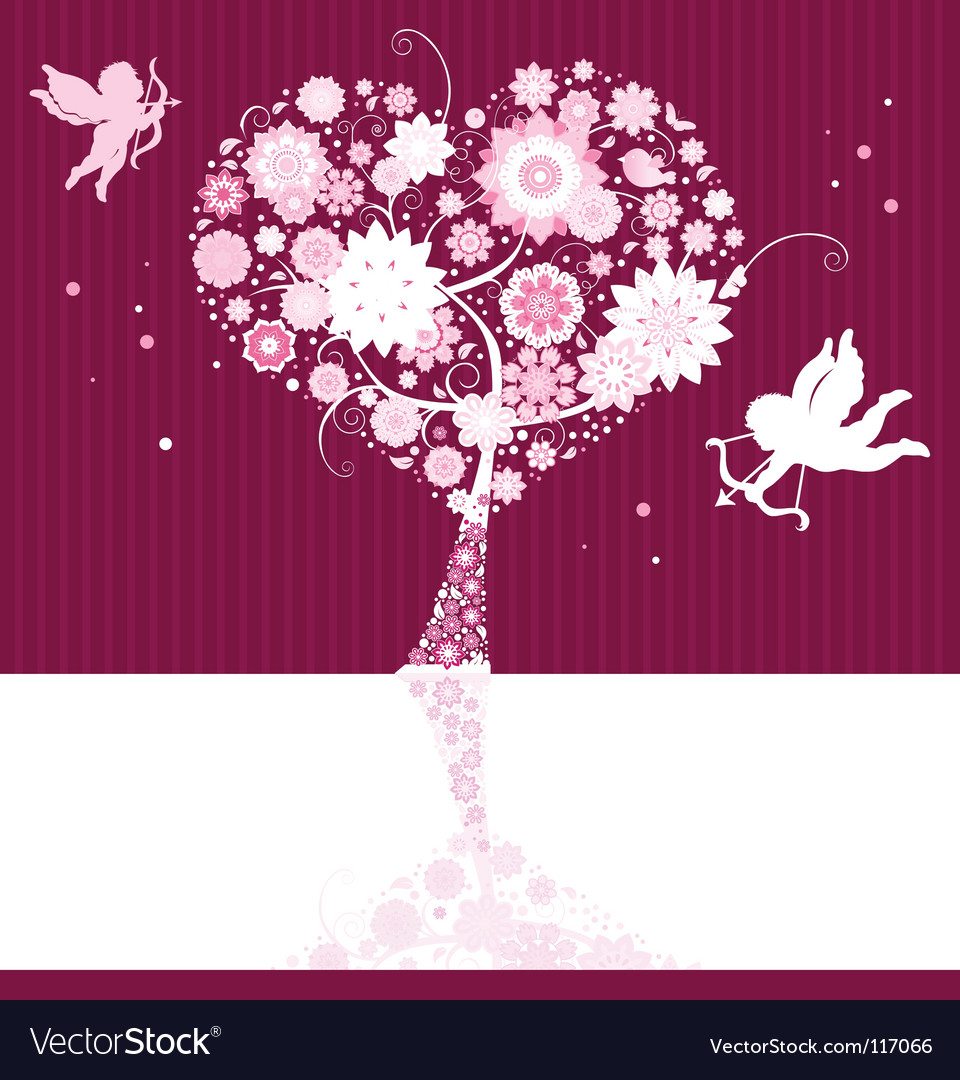 Floral background with cupid