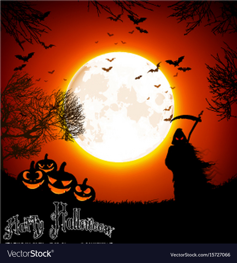 Halloween background with ghost and pumpkins on th